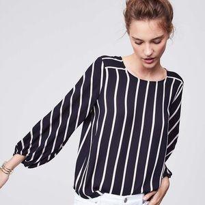 nwot loft black mixed stripe fluid blouse large